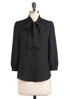 Black Tea With Milk Top - Mid-length, Black, Solid, Buttons, Tie Neck, 3/4 Sleeve, Work, Exclusives, Best Seller, Variation