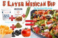 Simple 5 Layer Mexican Dip recipe perfect for tailgating, camping and other gatherings with friends