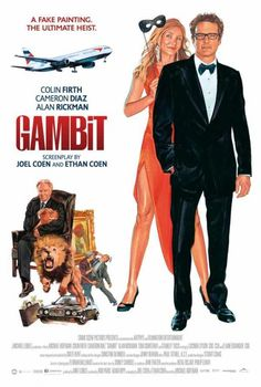 Gambit is in completed starring Colin Firth, Cameron Diaz, Alan Rickman, Tom Courtenay. Centers on British art curator Harry Deane (Colin Firth) who devises a finely-crafted scheme to con England's richest man and avid art colle Comedy Movies, Hd Movies, Movies Online, Movies And Tv Shows, Movie Tv, 2017 Movies, Colin Firth, Cameron Diaz, Poster