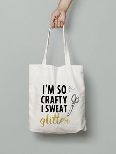 "Crafty and glitter tote bag canvas market bag by Mybebecadum for the crafty diva ""I'm so crafty I sweat glitter"" tote bag, or project bag!"