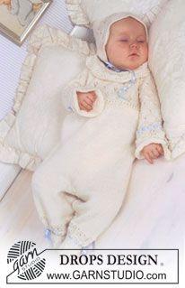 """DROPS Baby 11-31 - Conjunto DROPS de: Faldón de Bautismo, bonete y mameluco en """"BabyAlpaca Silk"""". - Free pattern by DROPS Design"""
