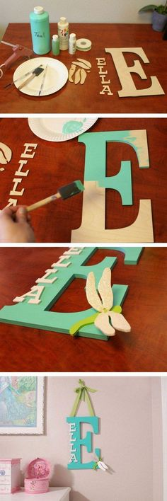 Painted Wooden Letter. This painted wooden letter is super easy to make and looks perfect when haning in kid's room!