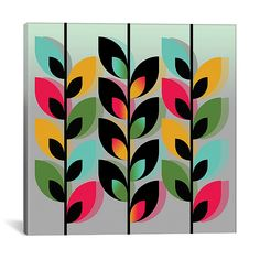 Add a touch of fun and imagination to your little one's room with the iCanvas Joyful Plants III Canvas Wall Art. With creative design and unique colorations, this piece is sure to enhance your child's space and bring a pop of pizzazz to your décor. Small Canvas Art, Diy Canvas Art, Canvas Artwork, 3 Canvas Painting Ideas, Wall Canvas, Mural Art, Wall Murals, Square Canvas, Graphic Design Illustration