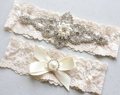 CHLOE II  Wedding Pearl Garter Set Wedding by HannabellaDesigns, $39.95