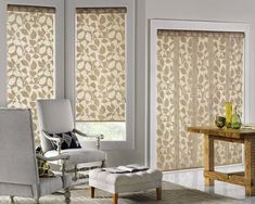 Hunter Douglas Designer shades. Legacy fabric, Guilded Leaf colour. #VerticalBlindsArchitecture
