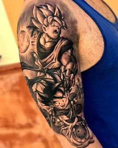 Tatuaje inspirado en Son Goku de estilo black and grey en el brazo derecho. Artista Tatuador: Sergio Fernández
