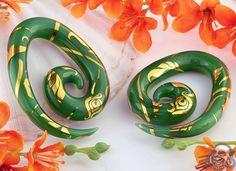 Pyrex glass spiral weights (flora and fauna)