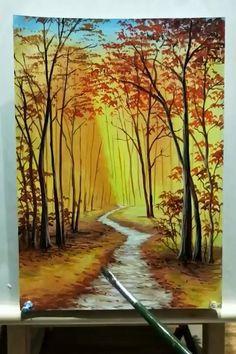 Canvas Painting Tutorials, Diy Canvas Art, Acrylic Painting Canvas, Acrylic Painting Inspiration, Painting Classes, Acrylic Painting Lessons, Canvas Artwork, Landscape Paintings, Nature Paintings