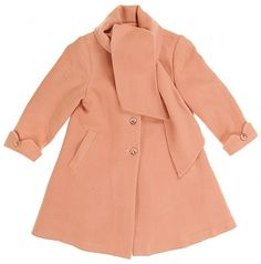 Peach Tie Neck Children's Coat With Bow Back - Vintage clothing from Rokit -