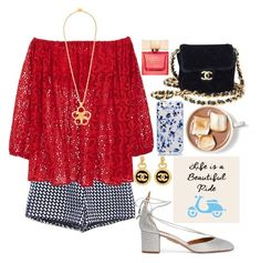 """""""Untitled #1040"""" by meelstyle ❤ liked on Polyvore featuring Aquazzura, Chanel and Kate Spade"""