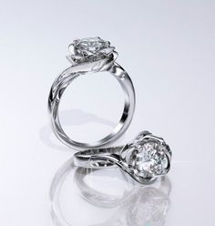 luvia white gold flower engagement ring