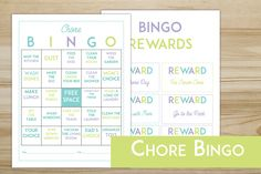 Free printable Chore Bingo Game- includes a game board and rewards coupons!