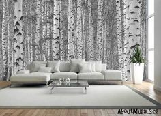 Wallpaper Accent Wall - This black and white tree mural will sweep you away with its majestic birch tree. Tree Wallpaper Bedroom, Birch Tree Wallpaper, Forest Wallpaper, Wall Wallpaper, Prepasted Wallpaper, Trendy Wallpaper, Black And White Tree, Black And White Wallpaper, Birch Tree Mural