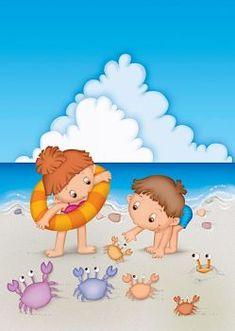 Children playing on a beach Animal Decor, Whimsical Art, Beach Art, Colouring Pages, Cute Illustration, Clipart, Cute Art, Cute Kids, Summer Fun