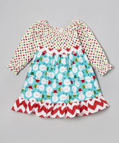 Mini mavens will adore the vibrant colors in this festive dress. Featuring whimsical holiday prints and a darling ribbon for creating the perfect bow, this comfy piece is sure to delight all season long. 100% cottonMachine wash; tumble dryMade in the USA