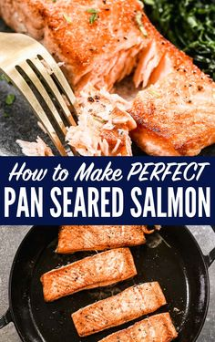 How to make easy, perfect pan seared salmon. The easy tips you need to cook restaurant-style pan fried salmon at home. The best healthy salmon recipes for fast dinners and a great dinner party recipe too!