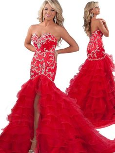 2014 New Arrival Sweetheart Beads and Sequins Mermaid Ruffles Organza Red Prom Dresses Long With Front Slit RO2018