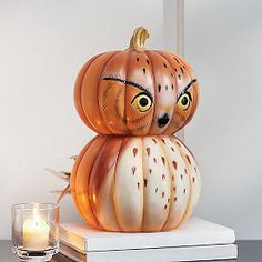 painted pumpkins A smart-looking fellow, coming and going. Our Woodland Pumpkin Owl features a delightfully painted personality, his feathers detailed with light brushstrokes, pop Halloween Season, Fall Halloween, Halloween Crafts, Halloween Decorations, Owl Decorations, Owls Decor, Halloween Costumes, Pumpkin Art, Pumpkin Crafts