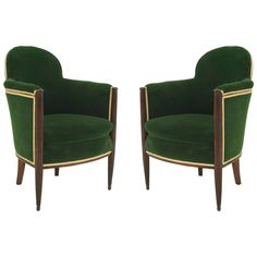 Pair of French Art Deco Green Velvet-Upholstered Mahogany Bergeres | From a unique collection of antique and modern armchairs at https://www.1stdibs.com/furniture/seating/armchairs/