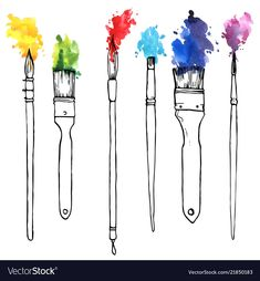 Find Vector Drawing Paintbrushes Color Paint Hand stock images in HD and millions of other royalty-free stock photos, illustrations and vectors in the Shutterstock collection. Thousands of new, high-quality pictures added every day. Music Drawings, Art Drawings, Drawing Art, Watercolor Cards, Watercolor Paintings, Paint Brush Drawing, Brush Tattoo, Paint Vector, Zen Doodle