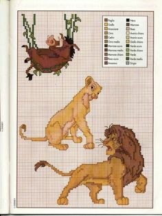 Timon Pumbaa and Zazu cross stitch pattern - free cross stitch patterns crochet knitting amigurumi Cross Stitch Baby, Cross Stitch Charts, Lion King Crafts, Cross Stitching, Cross Stitch Embroidery, Alfabeto Disney, Timon And Pumbaa, Disney Cross Stitch Patterns, Disney Stitch