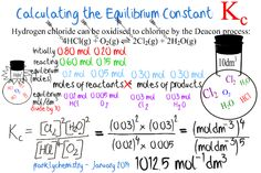 Learn how to calculate an equilibrium constant Kc. How To Learn Chemistry, Ap Chemistry Exam, Chemistry Lecture, Chemistry Worksheets, Chemistry Classroom, High School Chemistry, Chemistry Notes, Teaching Chemistry, Organic Chemistry
