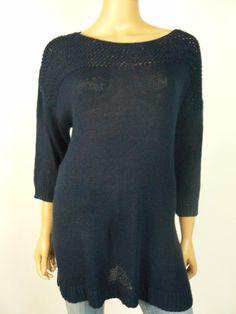 $109 LAUREN  Ralph Lauren Navy Blue Knit Boatneck Knit Sweater