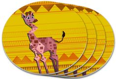"Amazon.com: Custom & Cool {4"" Inches} Set Pack Of 4 Round Circle ""Grip Texture"" Drink Cup Coasters Made of Plastic w/ Cork Bottom w/ Tall Beautiful Giraffe In Desert Design [Colorful Orange, Yellow & Brown]: Home & Kitchen"