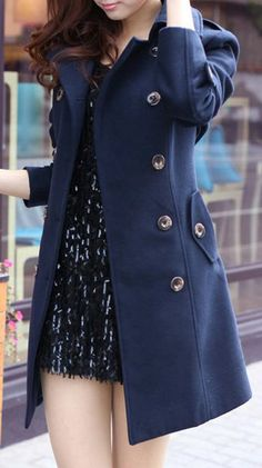 Classic Navy | Double Breasted Coat.  dresslily.com