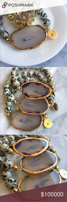 🦄COMING SOON🦄 LIKE TO BE NOTIFIED- Agate Dalmatian Bracelets- Natural agate slices accented with bronze hematite and natural Dalmatian stones. Each finished with Simple Sanctuary 18k gold layered charm. Simple Sanctuary Jewelry Bracelets