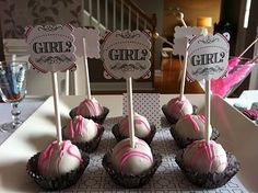 Gender Reveal Cake Pops | Vintage Glam Gender Reveal Baby Shower : Anders Ruff Custom Designs ...