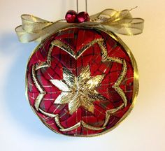 Golden Christmas  Handmade Quilted Ornament by Traceritops on Etsy, $15.00