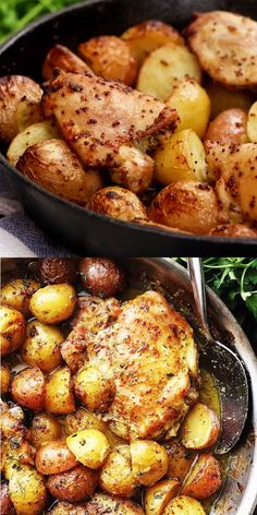 One Pan Maple Mustard Chicken and Potatoes – Easy and absolutely amazing one p.One Pan Maple Mustard Chicken and Potatoes – Easy and absolutely amazing one pan dinner with chicken thighs and potatoes cooked in a delicious maple syrup and mustard dr New Recipes, Dinner Recipes, Cooking Recipes, Healthy Recipes, Healthy Cooking, French Recipes, Cooking Videos, Sour Cream Recipes Dinner, Amazing Food Recipes