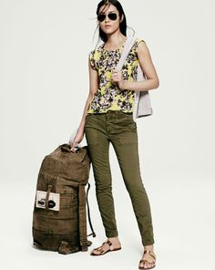 J.Crew sleeveless drapey top in photo floral and skinny washed twill utility pant.