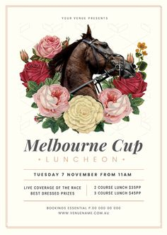 Customizable Graphic Templates - drag and drop your way to design stunning graphics like a pro in seconds; without leaving your web browser. Cup Design, Design Art, Melbourne Cup Horses, Melb Cup, Horse Flowers, Horse Posters, Spring Racing, Graphic Design Templates, The 5th Of November