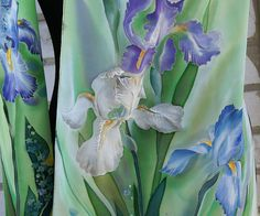 Batik silk scarf Irises Hand painted natural silk scarf Luxury