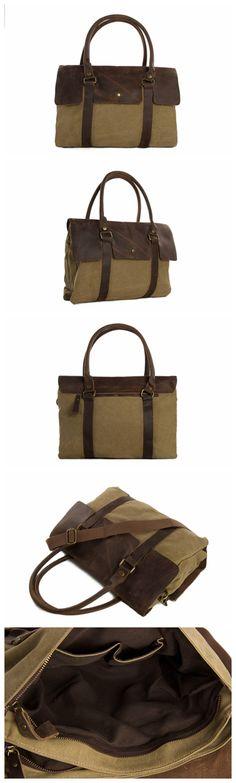 Vintage Style Canvas with Leather Tote Bag Briefcase Messenger Bag Shoulder Bag