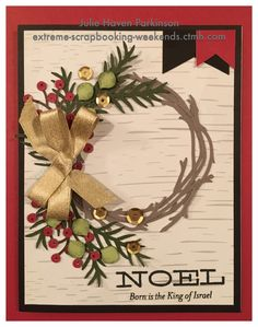 Make this beautiful Christmas card with CTMH Flower Market Cricut Collection.