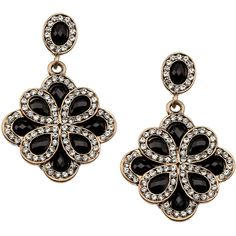 Accessorize Heirloom Crest Short Drop Earrings (£4.63) ❤ liked on Polyvore featuring jewelry, earrings, accessories, black, brincos, drop earrings, studded jewelry, accessorize jewelry, stud earrings and accessorize earrings
