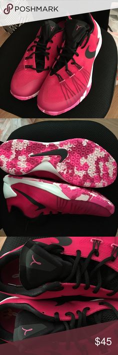 Women's Nike Hyperchase Basketball Shoes BRAND NEW, never worn Nike Hyperchase basketball shoes. Size 11 in women's. Comfortable fit and good traction. Can be worn as workout shoes or to hoop in.  Breast cancer log on insole and tongue.  Color: dark pink/magenta with pink gradient camo design on sole. Nike Shoes Athletic Shoes