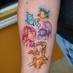 Watercolor Disney characters done by @_glitterpoops #inkeddisney