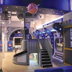 Space themed dental office designed by Imagination Dental Solutions Bedroom Themes, Bedroom Decor, Spaceship Interior, Cool Kids Rooms, Bedroom False Ceiling Design, Kids Bedroom Designs, Space Theme, Dream Rooms, Boy Room