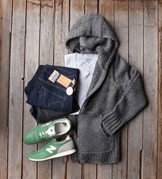 John Varvatos Chunky Hoodie - $398 Levi's Made and Crafted Jeans - $215 New Balance Runners - $110 James Perse T-shirt - $52
