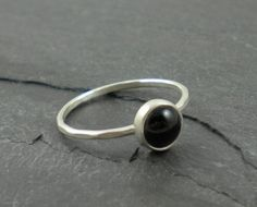 Black Onyx Ring. Silver Hammered Band. on Etsy, $30.00