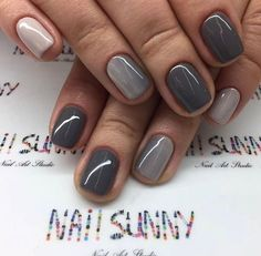 Gel nails,french nails,manicure and pedicure,mani-pedi,nail salons Short Gel Nails, Short Nails Art, Short Nail Manicure, Gradient Nails, Fun Nails, Gray Nails, Gray Nail Polish, Neutral Gel Nails, Nexgen Nails Colors
