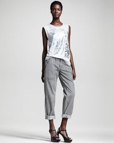 Cyclone Graphic Tank & Practitioner Striped Pants by Kelly Wearstler at Bergdorf Goodman.