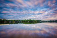 Long exposure of Lake Norman at sunset, at Lake Norman State Park, North Carolina. | Mounted Photo Print, Stretched Canvas, Metal Print Home Decor Wall Art.