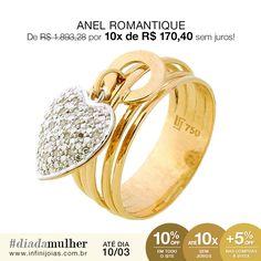 Anel Romantique Diamantes com Ouro - De: R$ 1.893,28 Por: R$ 1.703,95 ou 10x de R$ 170,40 sem juros #diadamulher #diadasmulheres