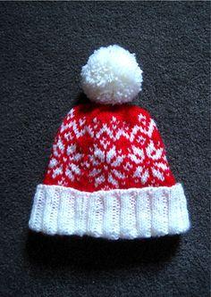ab6de369a9b knitting pattern baby child toddler adult hat bobble hat beanie hat colour-work  fairisle christmas red   white pom pom. Kelli Atkins · Hats Beanies