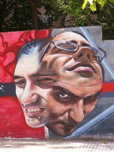 Street Art : Portrait(s) peint(s) par l'artiste Belin à Linares en Espagne.